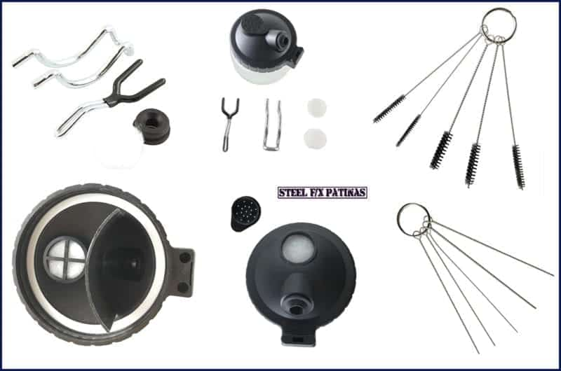 airbrush cleaning pot with accessories