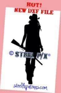cowgirl with rifle DXF file