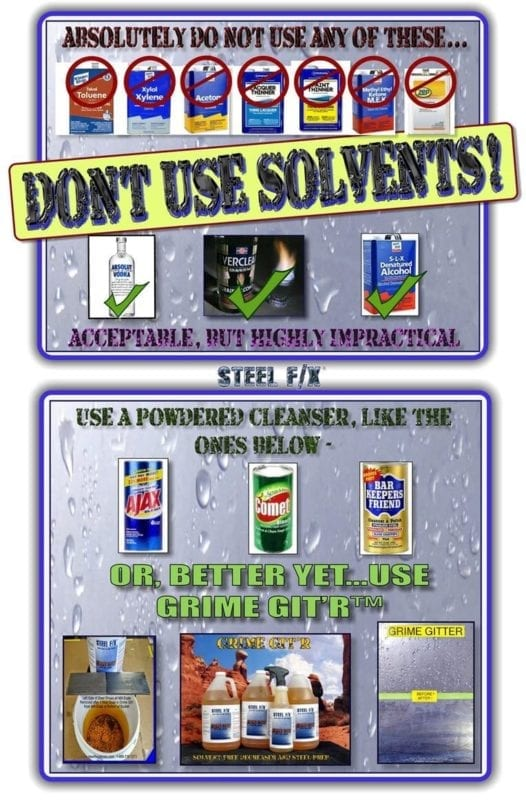 DON'T USE SOLVENTS